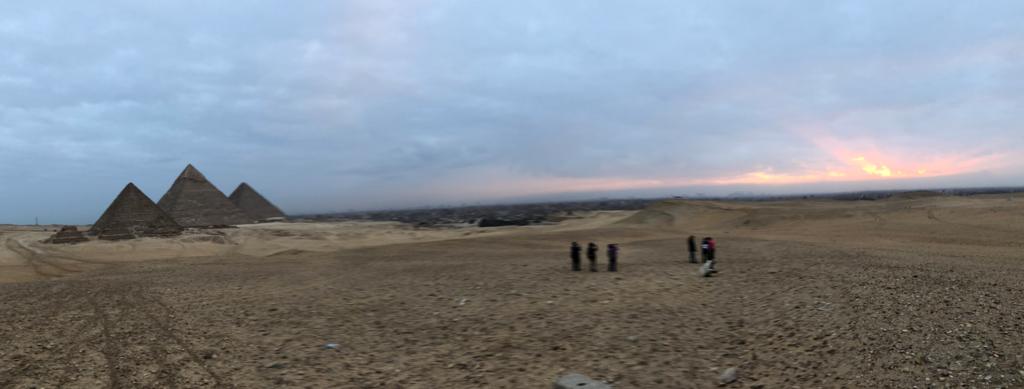 エジプト ギザ 3大ピラミッド セカンドパノラマ 朝焼けと3大ピラミッド パノラマ撮影