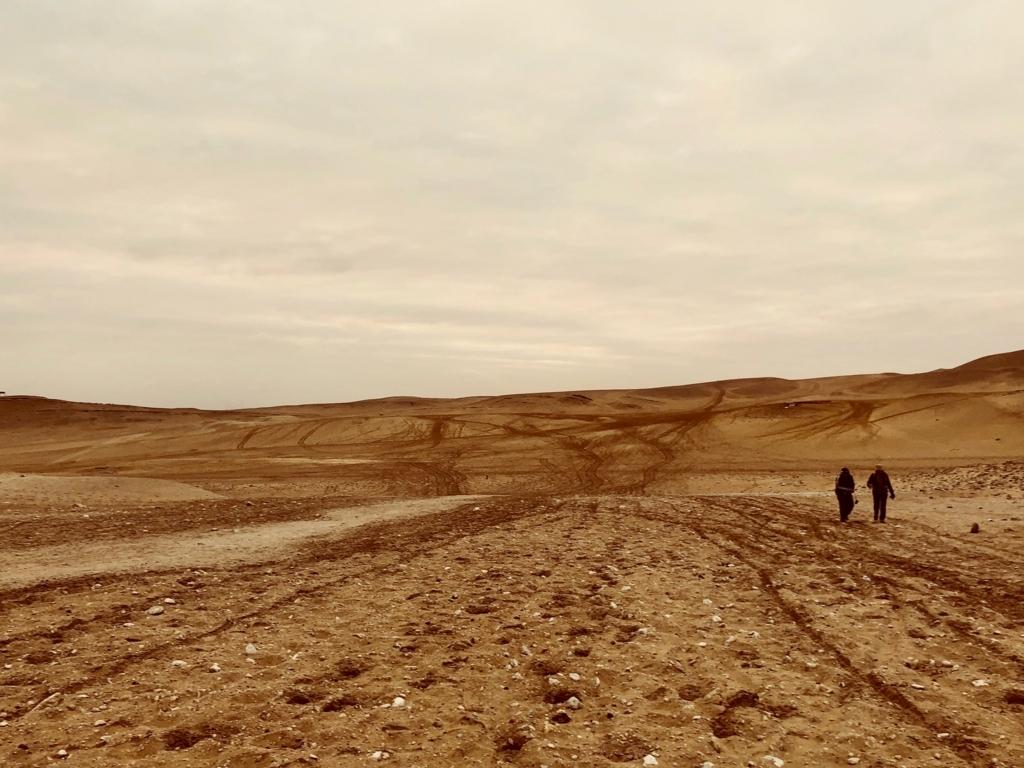 エジプト ギザ 3大ピラミッドエリア 夜明け直後 砂漠を縦