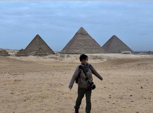 エジプト ギザ 3大ピラミッド セカンドパノラマ 朝日鑑賞 記念撮影