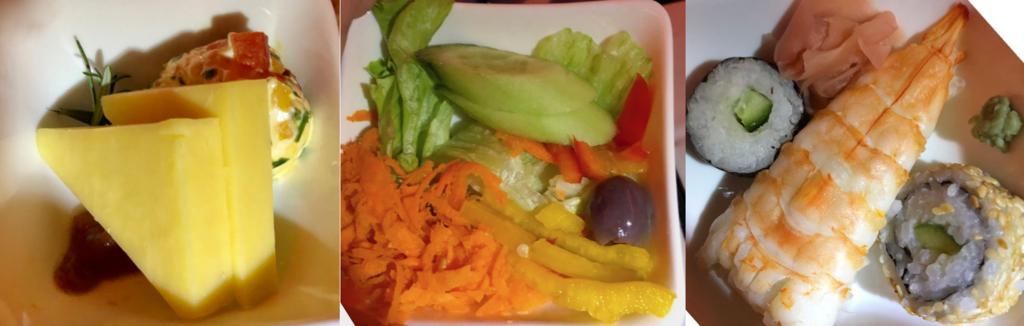 エジプト航空 カイロ-成田 MS964便 ビジネスクラス 1回目の機内食 前菜等