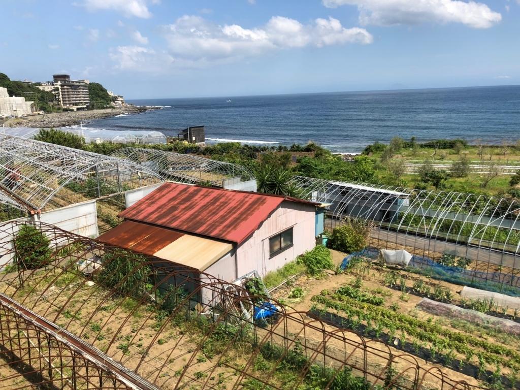 リゾート列車「伊豆クレイル IZU CRAILE」2号 車窓 伊豆稲取駅手前の風景