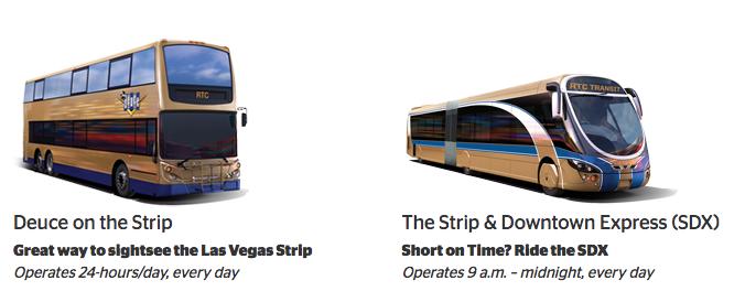 ラスベガス RTC バスの種類 DEUCE(各停)と SDX(快速))by www.rtcsnv.com