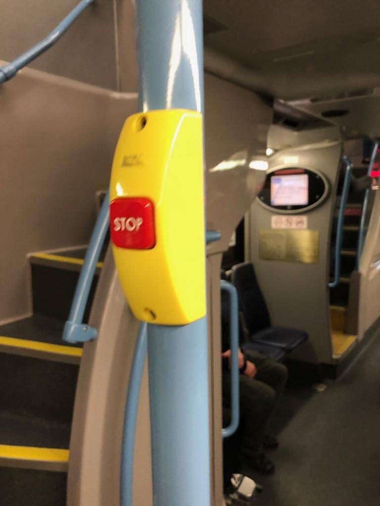 2018年2月 ラスベガス バス DEUCE車内 下車ボタン