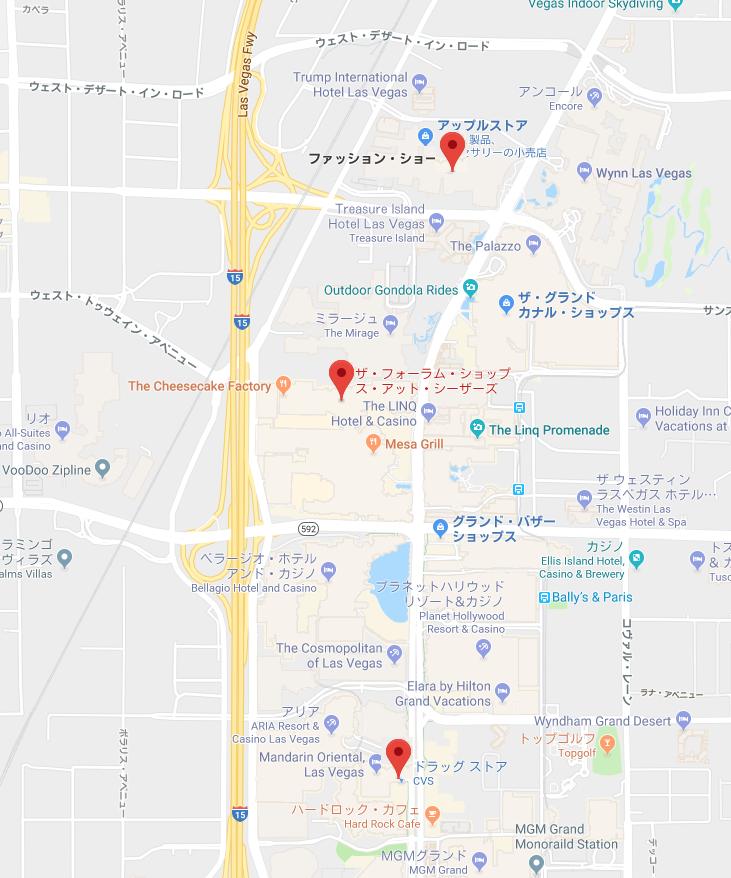 2018年2月 ラスベガス ショッピングした場所 マップ