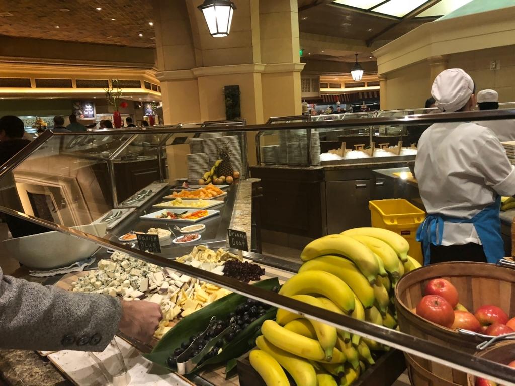 2018年2月 ラスベガス ベッラシオホテル 朝食バフェ 果物・チーズ類