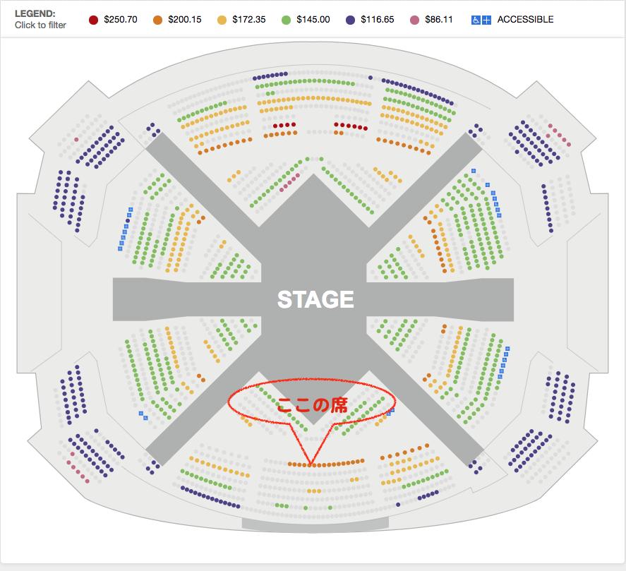 2018年2月ラスベガス ミラージュホテル ナイトショー「LOVE」座席表 by www.mirage.com