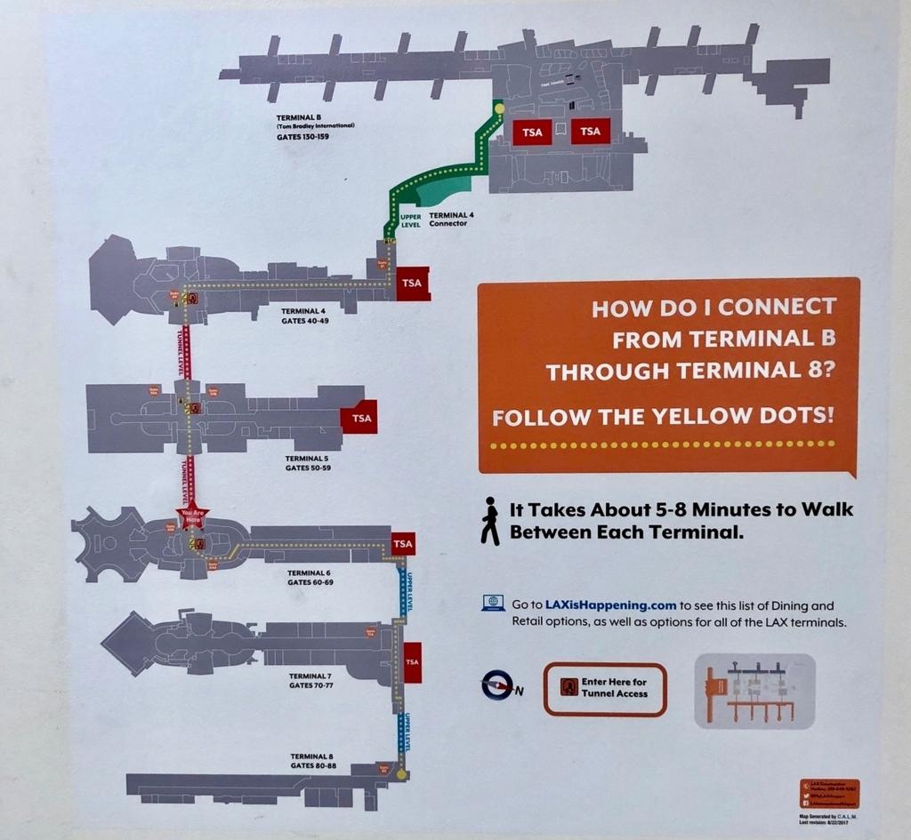 ロサンゼルス国際空港 トムブラッドレー国際ターミナル(TBIT) への 地下通路での移動経路