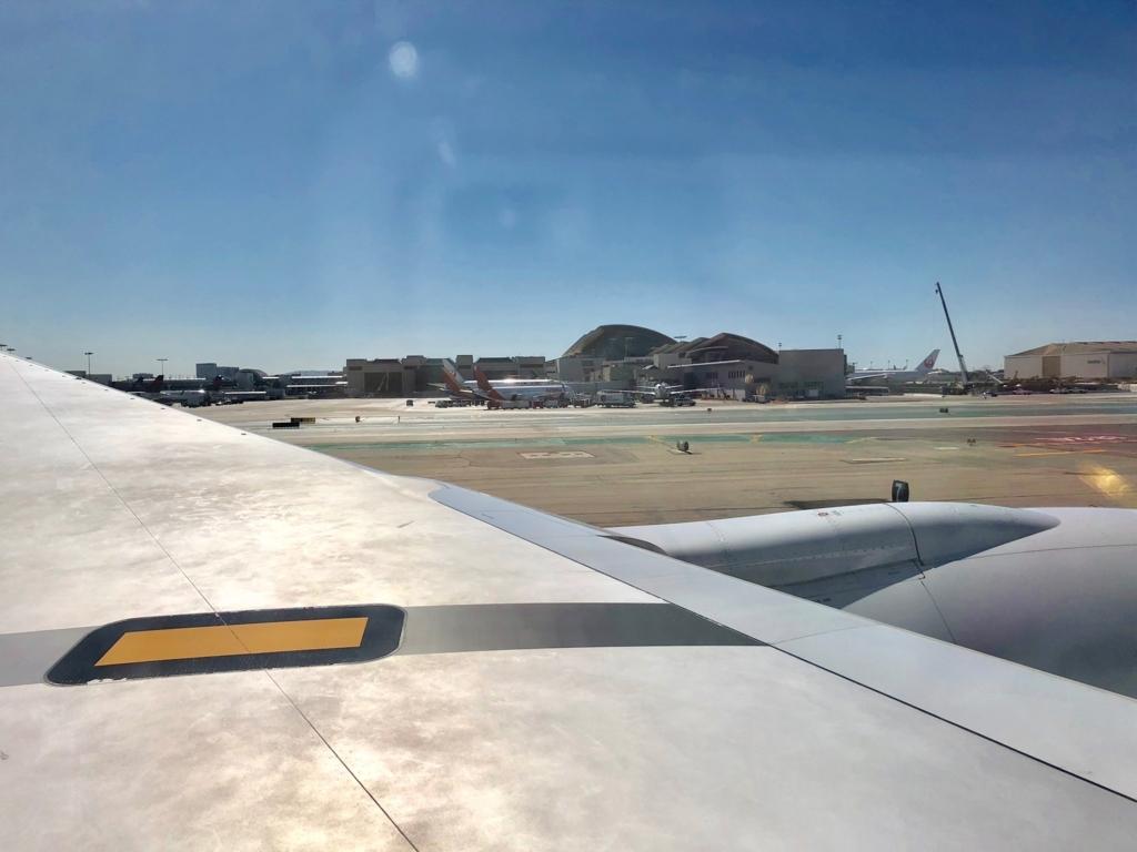 2018年2月 ロサンゼルス-成田 ANA175便 ビジネスクラス 窓際席(羽の上)より上空写真
