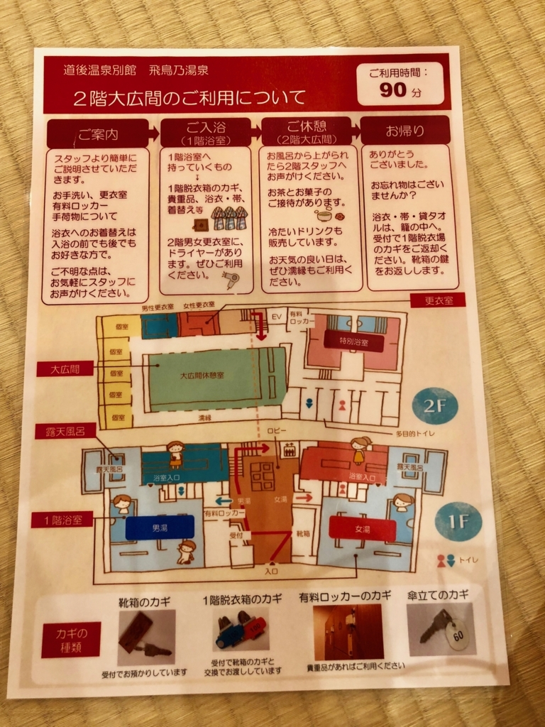 愛媛県道後温泉 「飛鳥乃湯泉」「2階大広間のご利用について」パンフレット