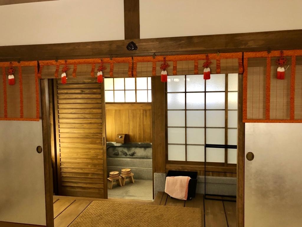 2018年3月 愛媛県 道後温泉 「飛鳥乃湯泉」特別浴室2 木戸の向こうが浴室
