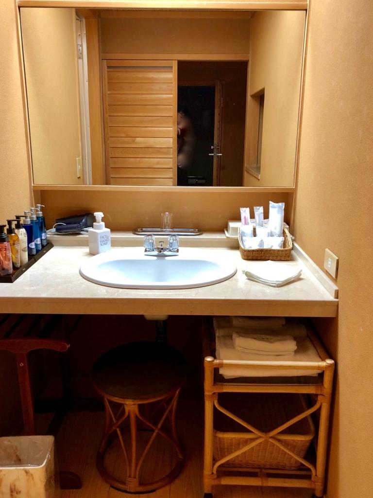 愛媛県 道後温泉 「大和屋本店」スタンダード和室 洗面所