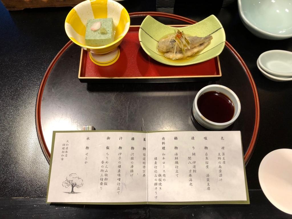 愛媛県 道後温泉 「大和屋本店」和食レストラン 「松風」夕食 先付