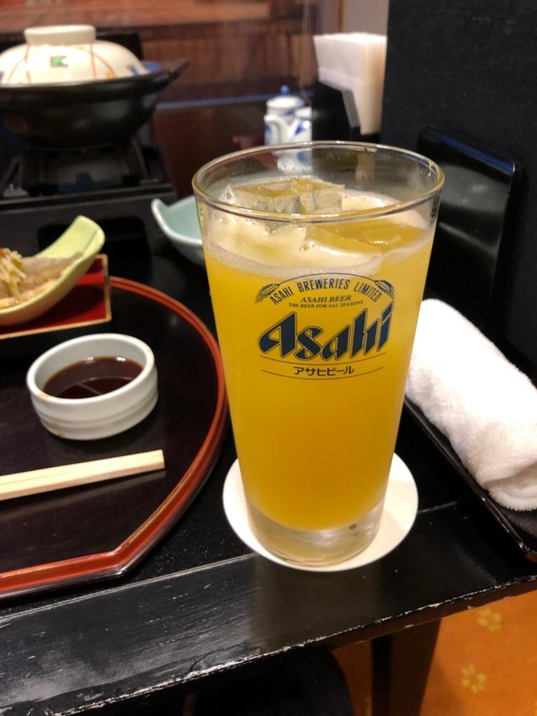 愛媛県 道後温泉 「大和屋本店」和食レストラン 「松風」夕食 飲み物 みかん割