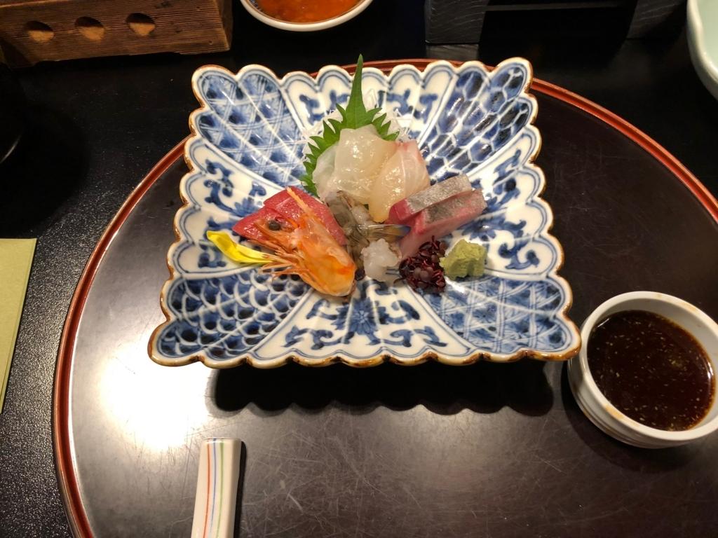 愛媛県 道後温泉 「大和屋本店」和食レストラン 「松風」夕食 造り