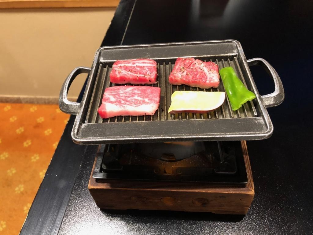 愛媛県 道後温泉 「大和屋本店」和食レストラン 「松風」夕食 肉料理