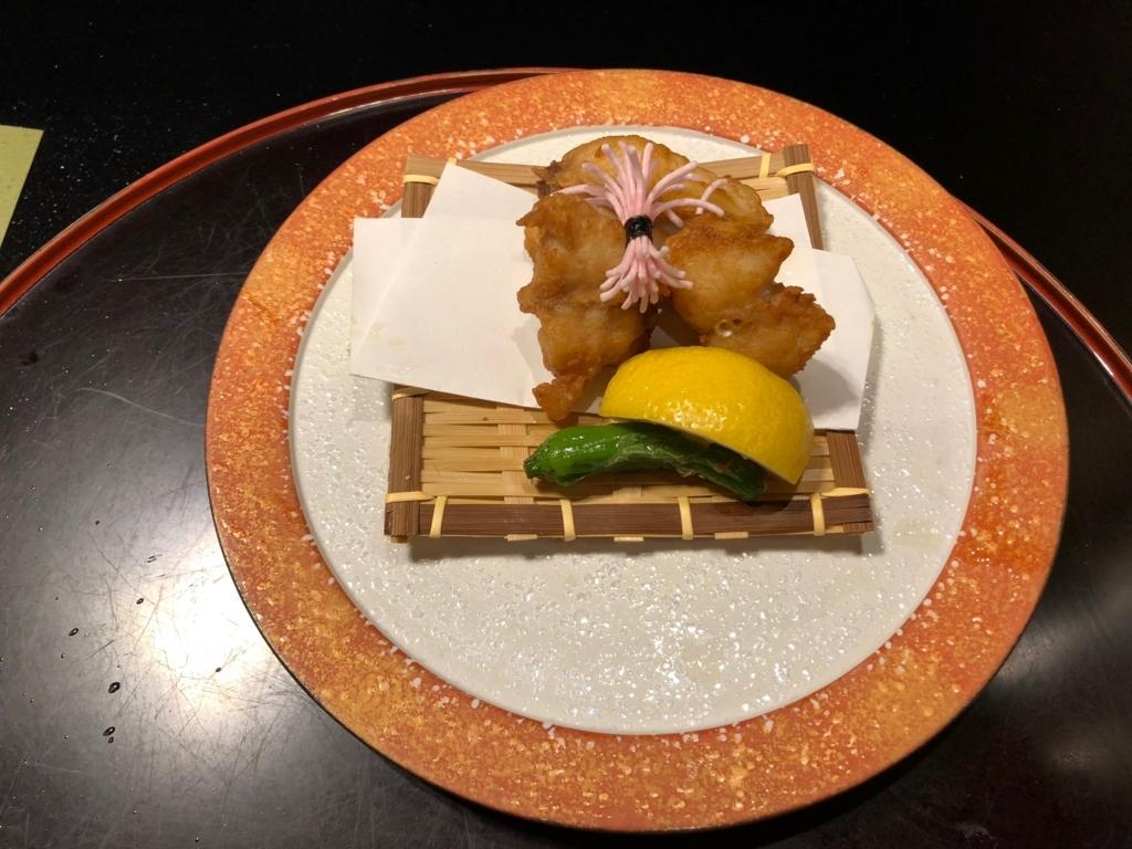 愛媛県 道後温泉 「大和屋本店」和食レストラン 「松風」夕食 揚げ物