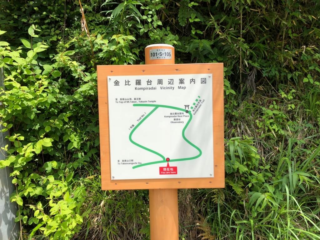 2018年5月 高尾山 一号路 金比羅台への路案内