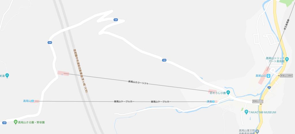 2018年5月 高尾山 一号路 中腹まで マップ