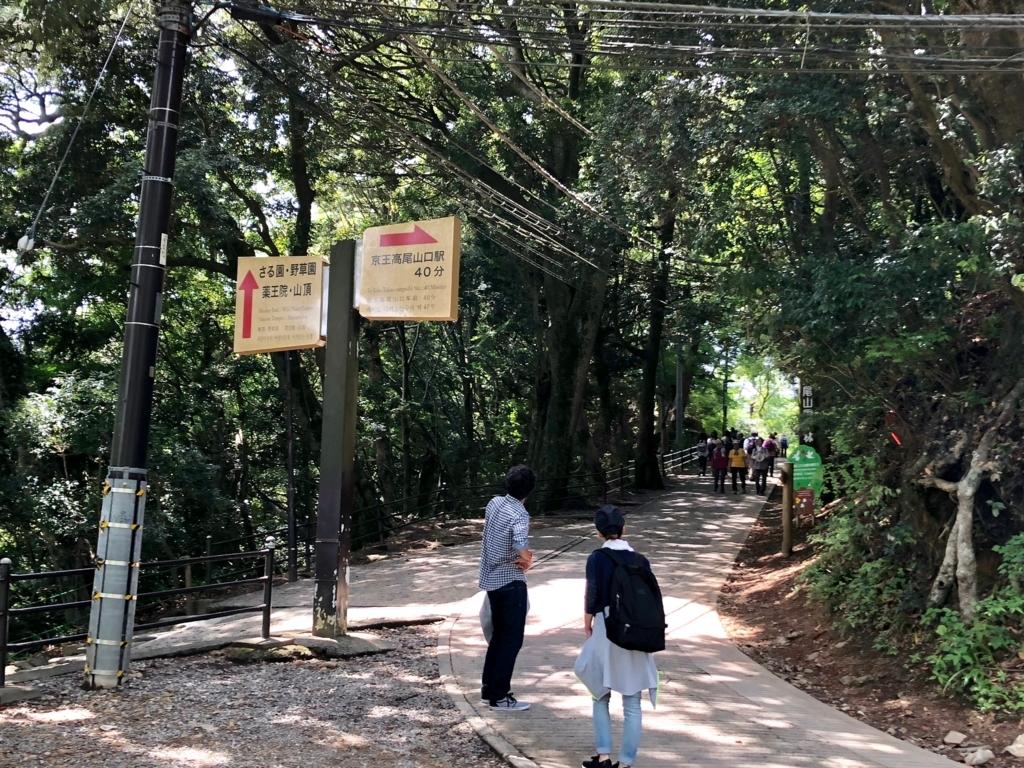2018年5月 高尾山 一号路 リフト 山頂駅から ケーブルカー高尾山駅までの平坦な路