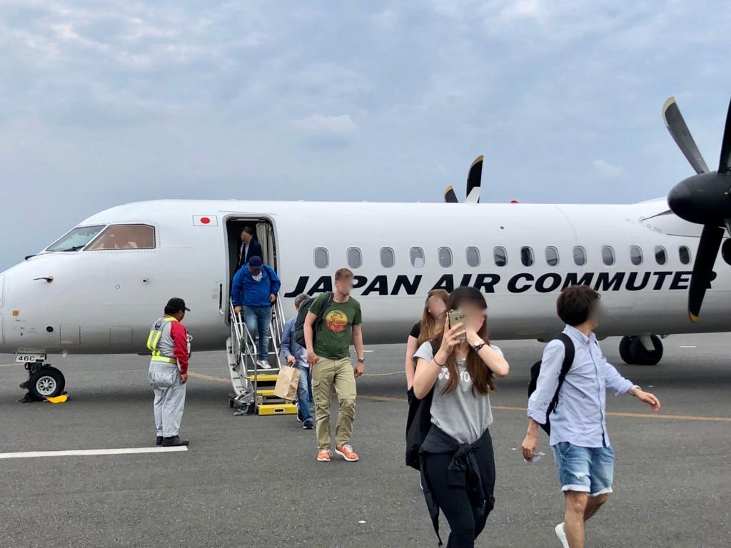 2018年5月 鹿児島空港から 屋久島空港 到着 タラップで外へ