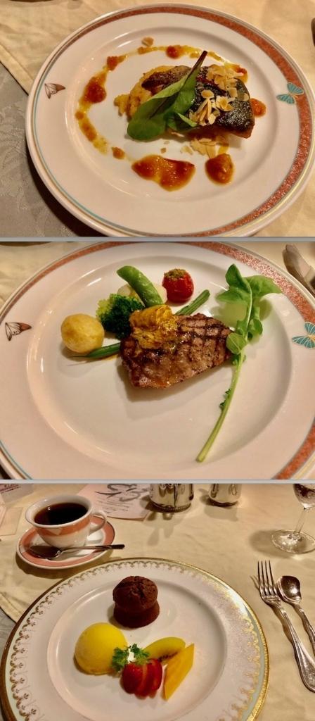 2018年5月 鹿児島県屋久島 「屋久島いわさきホテル」洋食ディナー 魚料理、肉料理、デザート