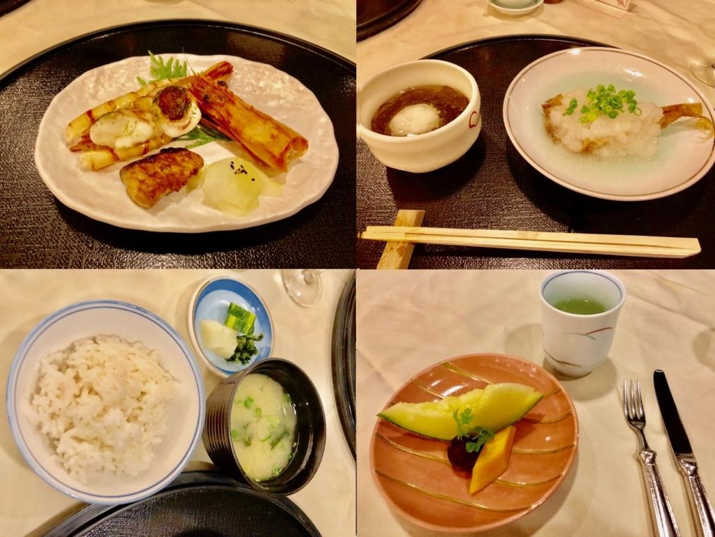2018年5月 鹿児島県屋久島 「屋久島いわさきホテル」和食ディナー 焼物 揚物 酢物 御飯 デザート