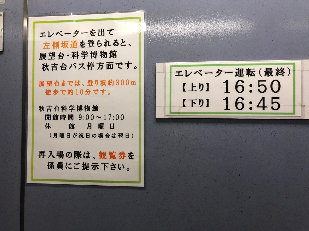 山口県秋吉台国定公園 秋吉台 秋芳洞エレベータ入り口 再入場には観覧券提示