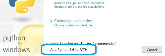 set path when install python