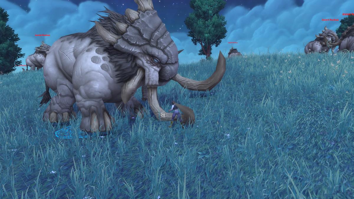 巨大な象に素手で挑むキャラクターの画像