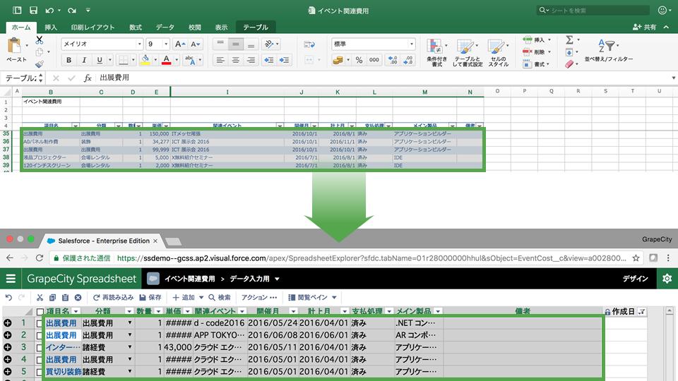 RaySheet側で新規行を追加してエクセルからコピー&ペースト