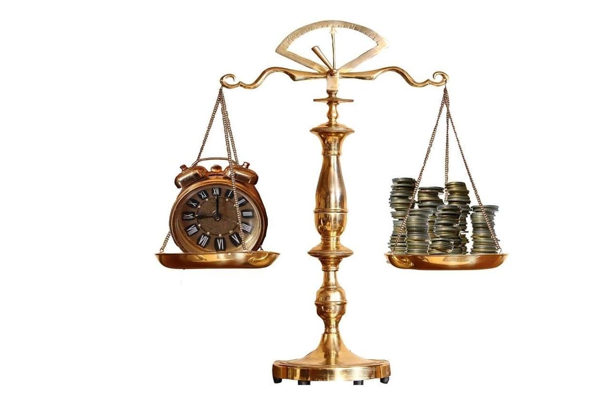 天秤 時計 お金