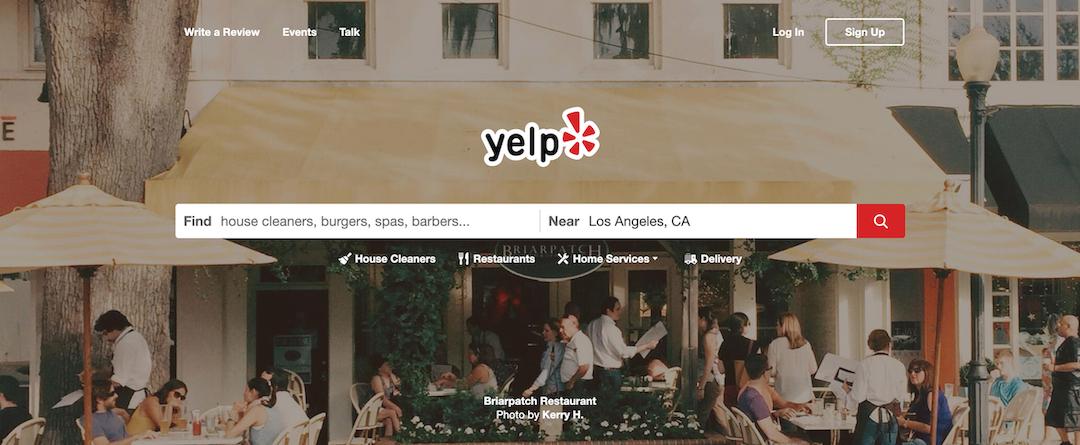 yelp.com ホームページ