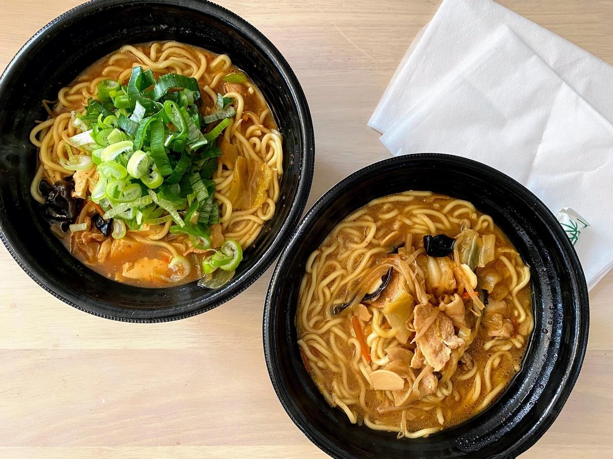 麺を盛った状態の蒙古タンメンと味噌タンメン
