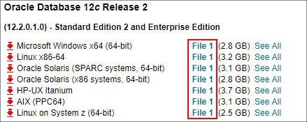 OracleDatabase12cR2ダウンロード