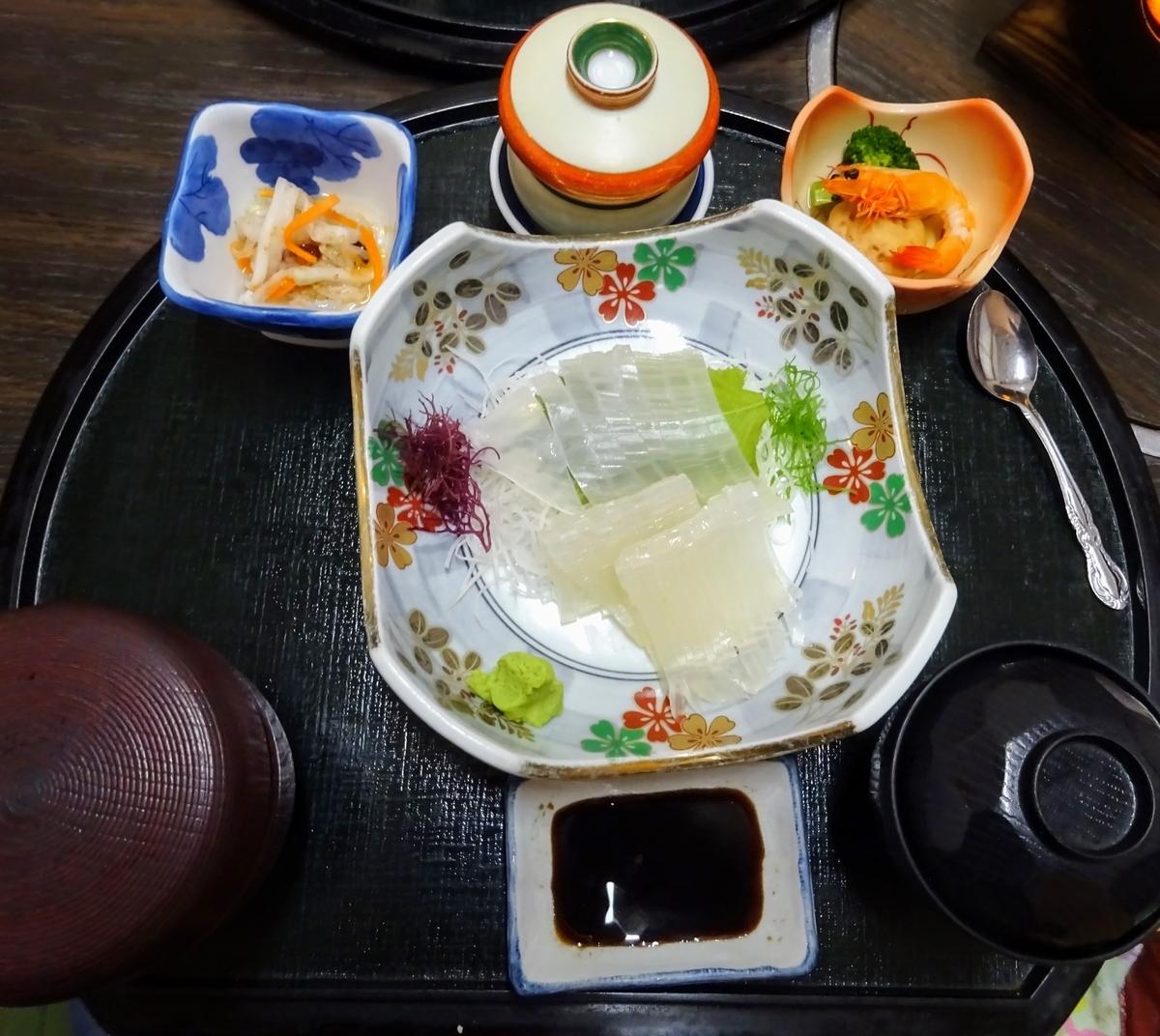 おおしきの『イカの活造り膳』 福岡県遠賀郡岡垣町