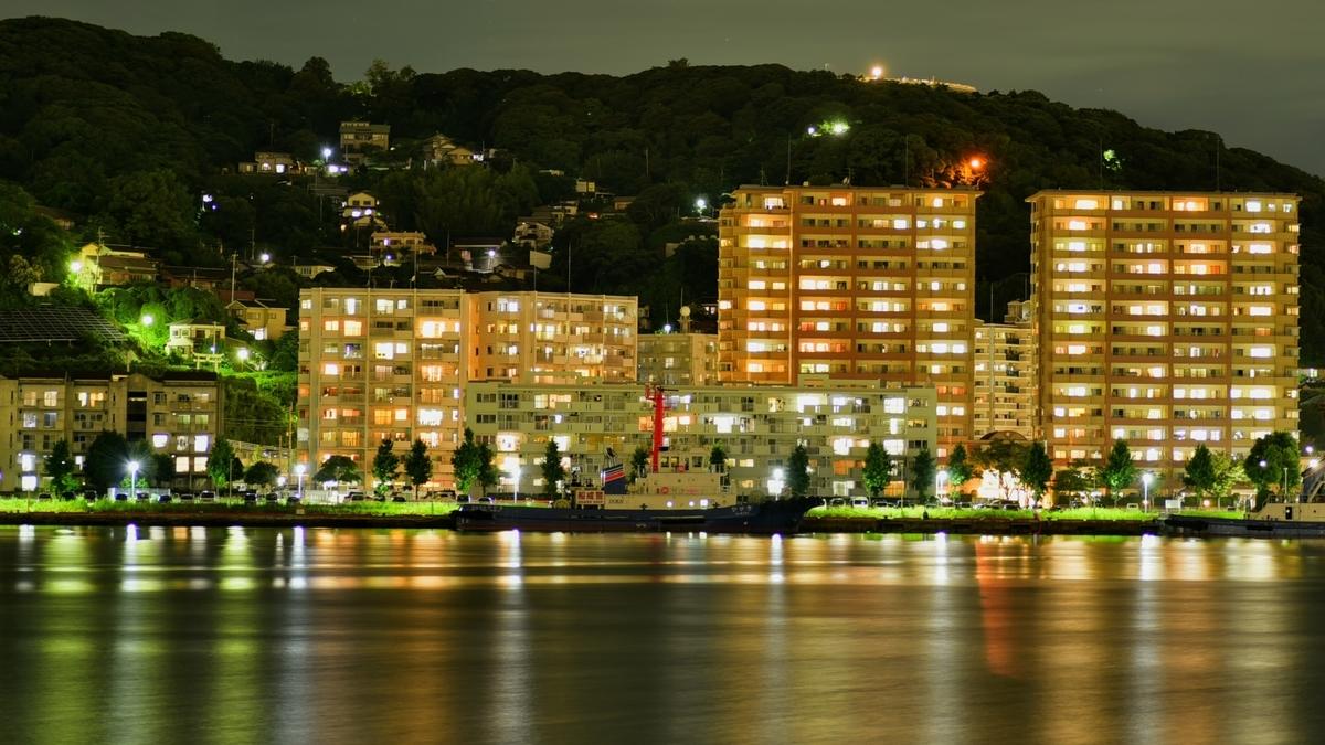 都島展望所からながめる若松区の夜景
