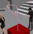 Emiko先生の、ピンクパールのネックレス。ボディラインに沿ってきれい