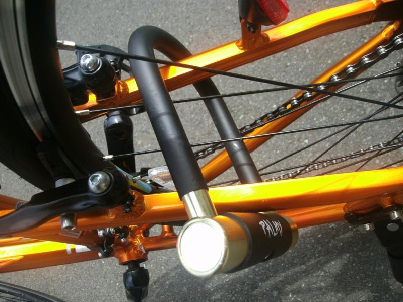 PALMY「アルミシャックルロック」 自転車に付けてみた