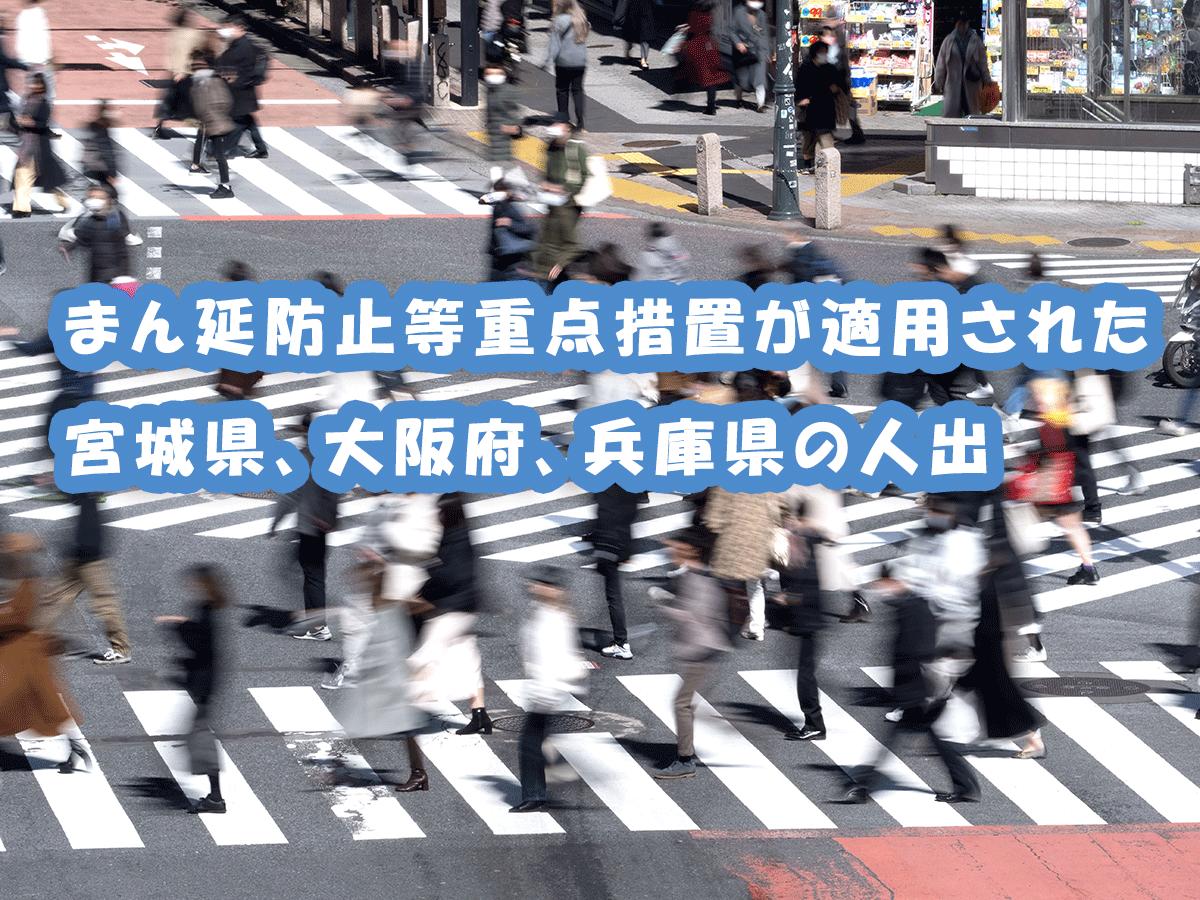まん延防止等重点措置が適用された宮城県、大阪府、兵庫県の人出