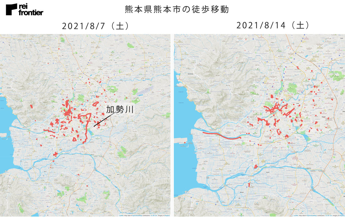 熊本県熊本市の徒歩移動
