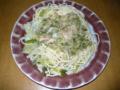 今日の昼食 偽鶏肉と葉物野菜のペペロンチーノ