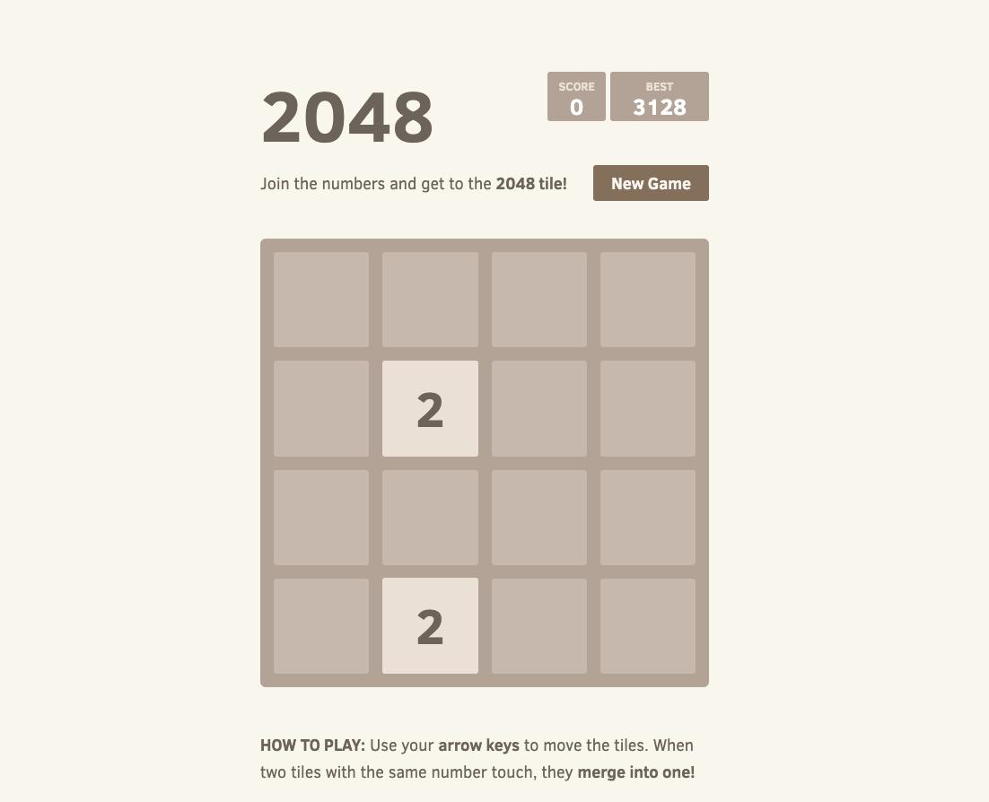 2048のゲーム画面の画像