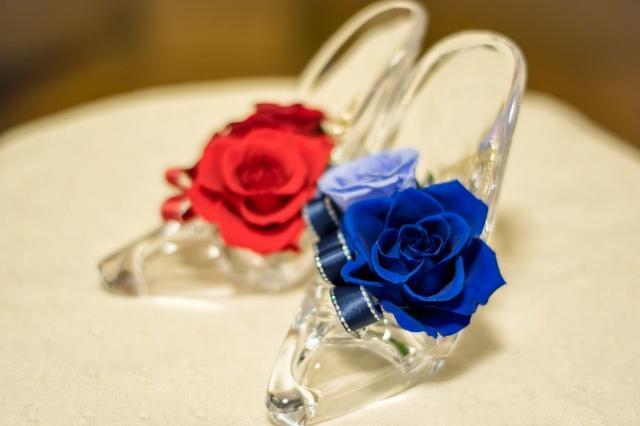 赤と青のプリザーブドフラワー