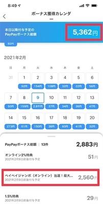 PayPayボーナスカレンダー