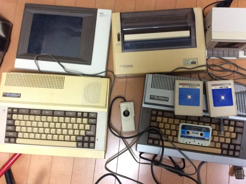 私が持っているPC-6001mk2実機と周辺機器類
