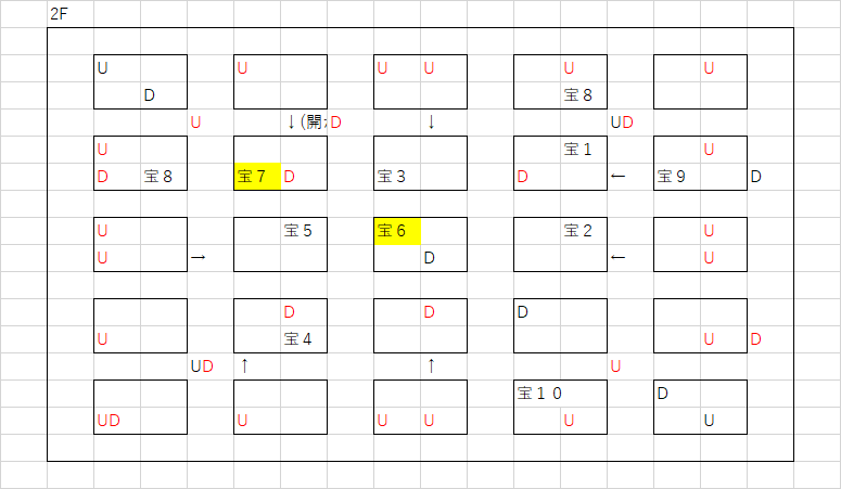 ツタの塔_2Fのマップ