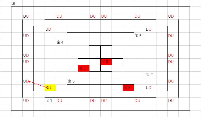 ツタの塔_3Fのマップ(4Fへ移動)