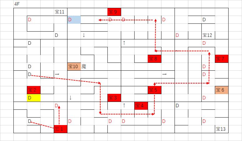 ツタの塔_4Fのマップ(お宝エリア)