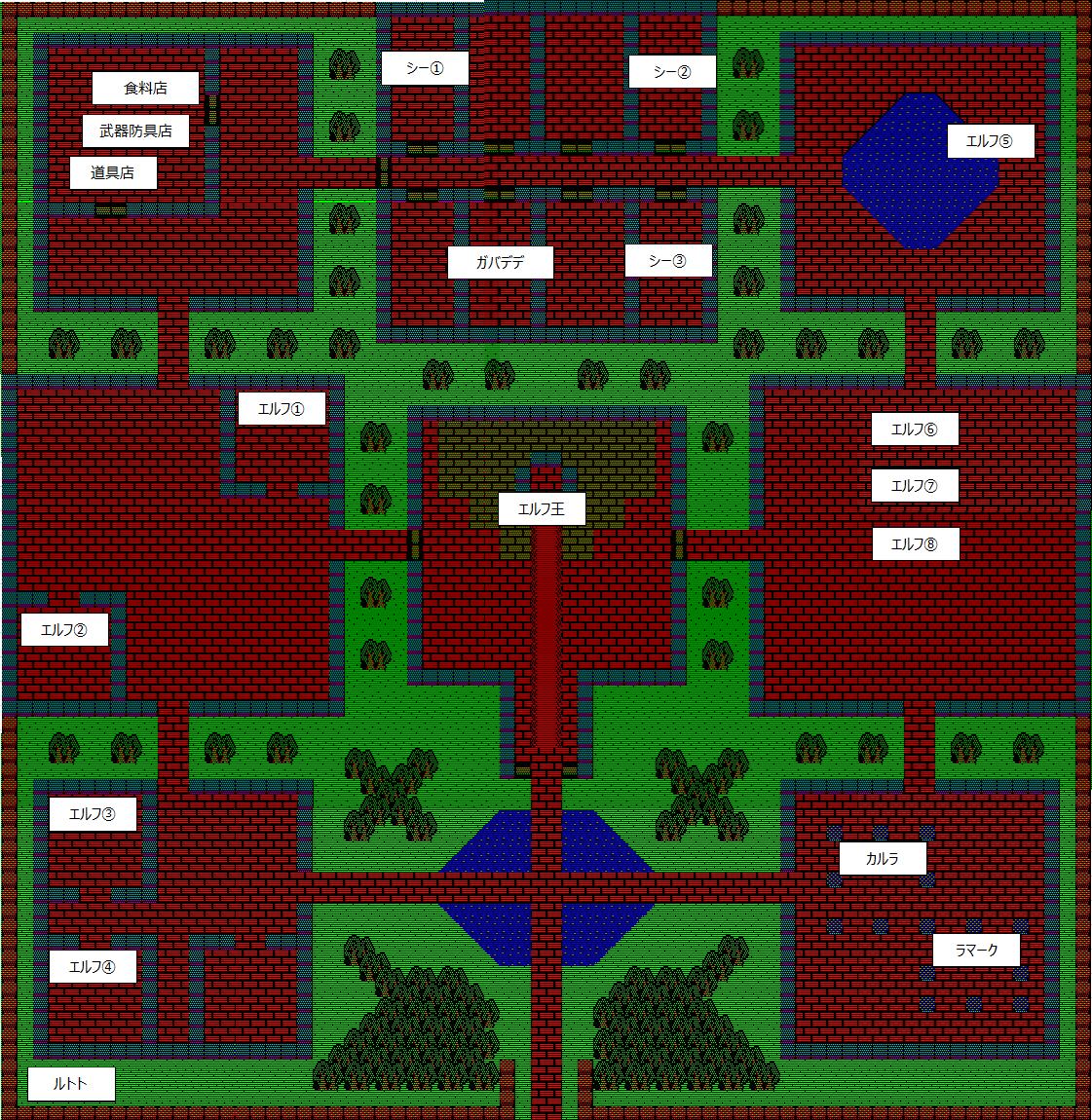 夢幻の心臓Ⅱ:エルフ城のマップ