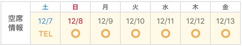 店舗の空席情報が表示されているカレンダー